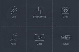 Diese Symbole verweisen auf zusätzliche, vertiefende Informationen zu den BFT-Artikeln – Zeile für Zeile von oben nach unten: Zusatz-Text; Zusatz-Fotos; Widget Creator; Zusatz-Link; Verweis auf eine andere App-Seite; direkter E-Mail-Kontakt; Zusatz-Audio-Datei; Zusatz-Youtube-Video; zusätzliche geographische Karte
