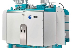 """<div class=""""bildtext_en"""">New Eirich intensive mixer type D23 with an effective capacity up to 3000liters, equivalent to 2m³ set concrete – for the first time in operation for core concrete</div>"""