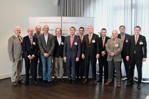 """<div class=""""bildtext_en"""">The new executive board of Info-b (from the left): Richard Bayer, Joachim Hoßfeld, Harry Schwab, Christian Egenter, Günter Laubinger, Jürgen Möller, Marco Röhrig, Martin Möllmann, Christian Bechtoldt, Dr. Reinhard Winzer. On the right: Dr. Ulrich Lotz, Managing Director of FBF Betondienst GmbH, and Stefan Heeß, Managing Director of Info-b</div>"""