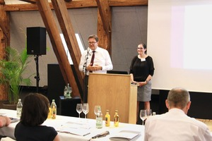 """<div class=""""bildtext_en"""">This year, FBF Managing Director Dr. Ulrich Lotz (left) was able to announce an interesting speech given by Cornelia Biegert on the Federal Horticultural Show 2019 </div>"""