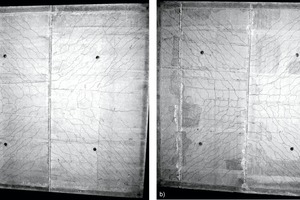 """<div class=""""bildtext_en"""">Crack patterns on the underside of two-axis stressed precast floor slabs [3]: a) Butt joints outside the torsion area; b) Butt joints inside the torsion area</div>"""