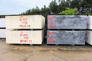 """<div class=""""bildtext"""">Bei der RBM-Blockbetonfertigung werden aus den homogen verdichteten Blöcken Bodenplatten, Treppenstufen, Fassadenplatten und vieles mehr geschnitten</div>"""