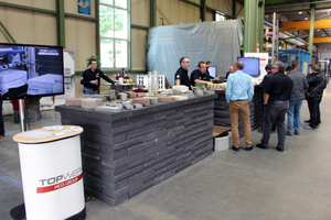 "<div class=""bildtext_en"">The live demonstrations at the after-sales services stand were among the other highlights, in addition to the machines and systems for concrete block production</div>"