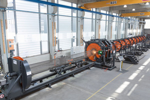 """<div class=""""bildtext_en"""">The LSM-150-C cage welding machine was developed by mbk for manufacture of circular and conical reinforcement for concrete masts and poles</div>"""