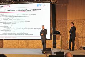 "<div class=""bildtext_en"">Dr. Christian Hanser (left) discussed topics that included the successful retrofit of a precast floor slab production plant</div>"