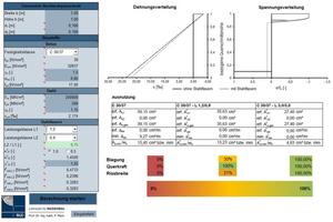 """<div class=""""bildtext"""">Abb.: Eingabemaske für Querschnitt und Materialkennwerte (links) mit berechneten wie visualisierten Bemessungsergebnissen und Ausnutzungsgraden (rechts)</div>"""