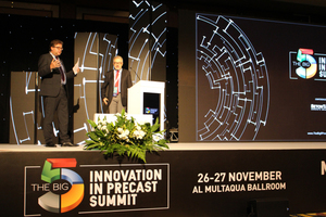 """<div class=""""bildtext_en"""">""""Innovation in Precast Summit"""" was moderated by Dr. Ulrich Lotz, Managing Director of FBF (left, here with Prof. Dr. Haluk Sucuoğlu) …</div>"""
