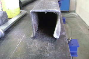 Prior to the restoration of the shuttering systems: deformed and dented shuttering profiles