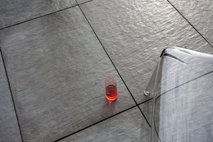 An example for another European Design version of Wasa wet-cast concrete slabs, replica of a finely crystalline mica slate from Norway, with three-dimensional appearance