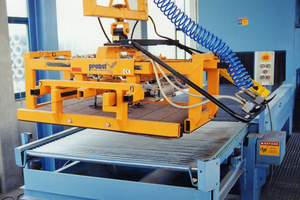 The ATZ-P forklift grabs can simultaneously destack one to two unstable interlocking block layers
