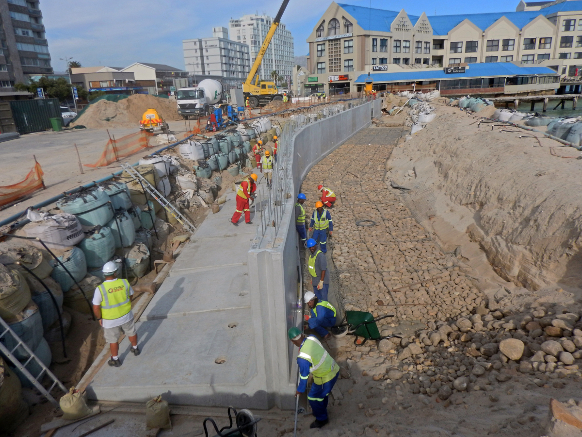Precast concrete seawall protects South African coastal town