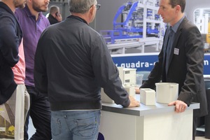 """<div class=""""bildtext_en"""">Quadra informed the visitors at their stand, among others, about a new client database for customers and the plant tour by means of virtual reality gear</div>"""