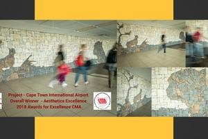 """<div class=""""bildtext"""">Revelstone gewann kürzlich die renommierte CMA-Trophäe für dieses Wandverblender-Projekt im Cape Town International Airport</div>"""
