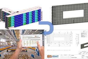 With Revit Precast, IDAT offers a complete and integrated workflow for the technical planning of concrete precast elements on the Revit software platform from Autodesk. The range of functions includes unitization, reinforcement, automatic drawing generation and machine control via various formats of the CAD/CAM interface