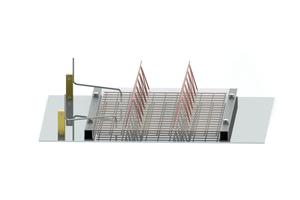 Einbau des Stahlbügels in eine Doppelwand mittels des zugehörigen Magneten