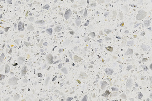 Flooring detail: the close-up view makes the pearl-white aggregate visible (maximum size 8 mm)