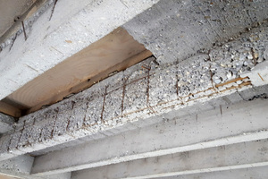 "<div class=""bildtext_en"">The ribbed concrete floor slabs showed significant damage, including exposed reinforcement </div>"