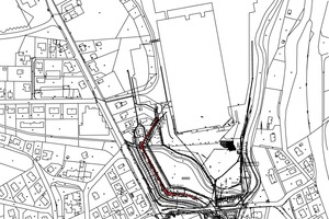 Brewery ground plan (without scale), with the noise barrier highlighted in red