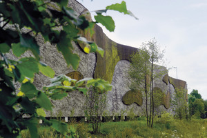 "Only certain portions of the wall surface are covered with moss. These ""islands"" refer to the corporate identity of the brewery – the islands of Bigge Lake"