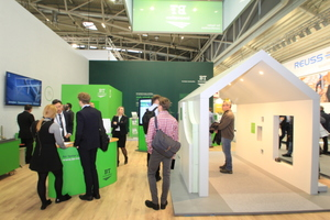 The BT innovation booth features the new corporate design at the BAU 2019 trade show in Munich