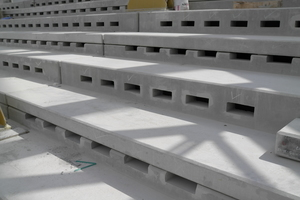 "<div class=""bildtext_en"">The air outlets below every seat on the spectator stands made of precast concrete elements were very good visible in the shell condition</div>"