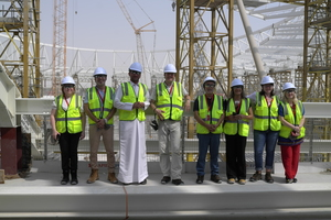 "<div class=""bildtext_en"">The author Christian Brensing (4<sup>th</sup> from left) together with a project team visited the Al Rayyan Stadium that is under construction</div>"