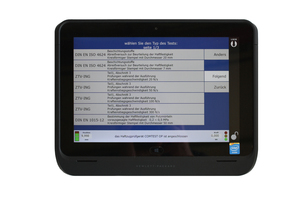 Detail view of tablet PC test program