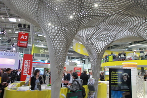 """<div class=""""bildtext_en"""">Attraction at the booth of InformationsZentrum Beton (Information Center for Concrete, IZB): the so-called Rosenstein pavilion manufactured with gradient concrete </div>"""