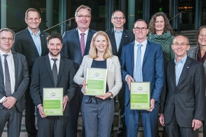 """<div class=""""bildtext_en"""">Presentation of the 2019 Schöck Building Innovation Awards to this year's winners at the Schöck Industry Forum in Ulm</div>"""