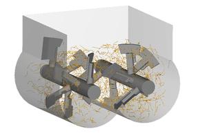 """<div class=""""bildtext"""">Simulation Doppelwellenmischer mit Fasern (Körnung ausgeblendet)</div>"""