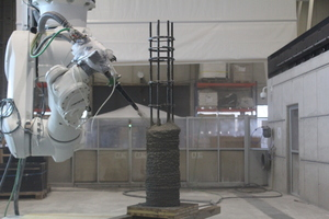 "<div class=""bildtext_en"">Fig. Manufacture of a 3D-printed reinforced concrete columns by the SC3DP method </div>"