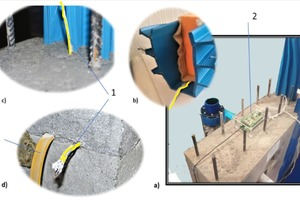 "<div class=""bildtext_en"">Fig. 14: Demonstrating stand for monitoring the water moisture regime of concrete structures difficult to access a) in general; b) expansion joint; c) vertical expansion joint; d) ""cold"" joint with water stop (3)</div>"