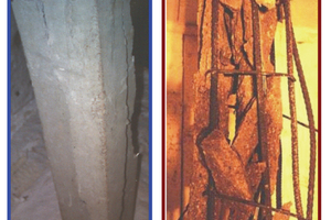 "<div class=""bildtext_en"">Fig. 2: Extent of spalling after fire tests in columns made from (a) NSC and (b) HSC </div>"