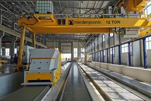 """<div class=""""bildtext_en"""">An extrusion unit supplied by Nordimpianti was installed to additionally produce standardized hollow-core slabs for industrial construction</div>"""