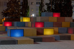 """<div class=""""bildtext_en"""">The 24 cubes of the sculpture Urban Star, for sitting and resting, are made of translucent concrete, fitted inside with LEDs</div>"""