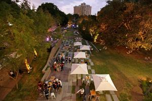 """<div class=""""bildtext_en""""><irspacing style=""""letter-spacing: -0.01em;"""">Visitors to the Rolex Arts Weekend enjoy the newly created terraced garden</irspacing> </div>"""