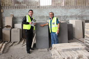 """<div class=""""bildtext_en""""><irspacing style=""""letter-spacing: -0.015em;"""">Silvio Schade (BFT/left) already visited Revelstone Director Andrew Cyprianos </irspacing>in the Revelstone production plant</div>"""