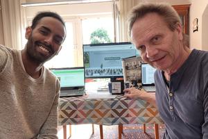"""<div class=""""bildtext"""">Solomon Abraha und Peter Niedrig vom Güteschutz Beton NRW e.V. genießen zusammen ihren Kaffee</div>"""