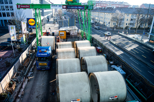 """<div class=""""bildtext_en""""><irspacing style=""""letter-spacing: -0.01em;"""">Owing to the limited storage capacities on Landsberger Strasse, Berding Beton had to ensure continuous delivery for the construction site in Munich</irspacing></div>"""