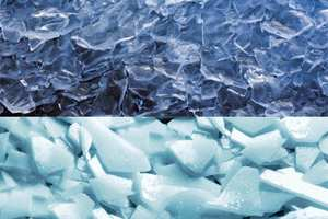 """<div class=""""bildtext_en"""">Plate ice (top) and flake ice (bottom) are the two types of ice most frequently used for concrete cooling; the plate-ice production process is about 30 to 45% more energy-efficient compared to that of flake ice</div>"""