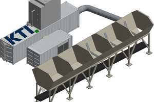 """<div class=""""bildtext_en"""">Model of an aggregate cooling unit connected to a linear storage bin with permanently installed air nozzles through a cold-air line</div>"""