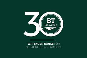 "<div class=""bildtext_en"">Success built on innovation – B.T. innovation GmbH celebrates its 30<sup>th</sup> anniversary</div>"