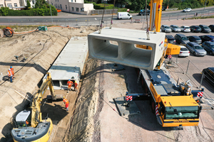 """<div class=""""bildtext_en""""><irspacing style=""""letter-spacing: 0.005em;"""">Installation of a stormwater retention channel: The precast reinforced-concrete dual-box units measure 2×1,950×1,200/900<br />×2,800mm</irspacing></div>"""