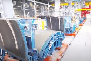 """<div class=""""bildtext"""">Universalumlaufanlage zum Betonieren von Tunnelsegmenten, Bahnschwellen und Betonplatten</div>"""
