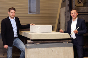 """<div class=""""bildtext_en"""">Project manager Stefan Carstens (left) and Professor Dr Matthias Pahn are working on more environmentally-friendly concrete components</div>"""