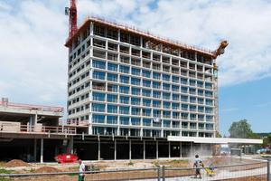 """<div class=""""bildtext_en"""">A luxury 4-star plus hotel featuring an innovative concrete façade is under construction adjacent to the Heilbronn Stadtpark</div>"""