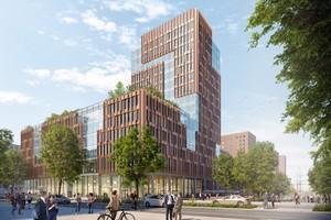 """<div class=""""bildtext_en"""">Mit dem markanten Bürogebäude Edge Elbside entsteht am östlichen Eingang der Hamburger HafenCity ein neues Wahrzeichen der Hansestadt</div>"""