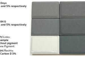 """<div class=""""bildtext"""">Tiefschwarz mit Eisenoxiden GF Onyx und GF 84 G im Vergleich mit Kohlenstoffpigment GF Carbon D 3% in Weißzement</div>"""