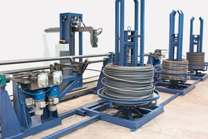 Automatic coil opening and wire threading system for coils up to 25 mm