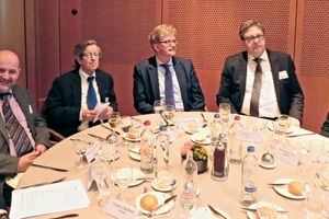 "<div class=""bildtext_en"">The German delegation during a business lunch (from left to right): Friedrich Gebhart (2nd from left), President of the FBF, Eberhard Bauer, Vice President of BIBM, Thomas Mann, Member of the European Parliament, Dr. Ulrich Lotz, Managing Director of FBF, Dorothea Stock, FBF</div>"